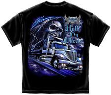 Truck Driver T Shirt Truckers American Flag Grim Reaper Hell On Wheels Tee S-3XL