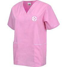NFL Pittsburgh Steelers Pink Solid Unisex Scrub Top