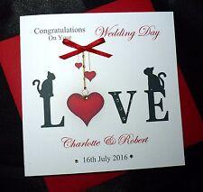 Personalised Handmade Wedding Engagement Anniversary Card  Love Cats (2506)