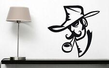 Wall Vinyl Sticker Decal Smoker Cowboy Hat Tube Mustache (n276)