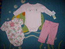 Calvin Klein Outfit 0-3 3-6 Mos 3pc Bodysuit Leggings Polka Dot Pink Floral New