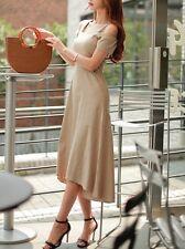Élégant refinada vestido mujer largo beige escotado por detrás suave 3788