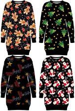 Ladies Xmas Ginger Hat Merry Christmas Thermal Fleece Pullover Jumper Top 8-22