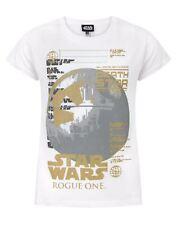 T-shirt en coton blanc Star Wars Metallic Death Star Girl Tailles 3 à 14 ans