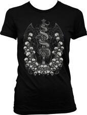 Sword Dragon Fantasy Skull Death Skeleton Tattoo Tribal  Juniors T-shirt