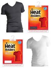 Mens Heat Holders Thermal underwear Short Sleeve V Neck Vest Top