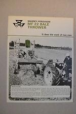 Massey Ferguson Brochure - Mf22 Bale Thrower - 1967 near mint condition