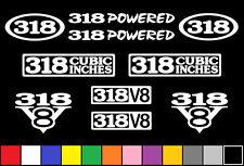 318 CI V8 POWERED 10 DECAL SET ENGINE STICKER EMBLEMS FENDER BADGE DECALS