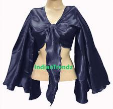 Navy Blue - Satin Tie Top Belly Dance Flair Wrap Choli Gypsy Haut Danse Blouse