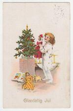 1927 Denmark Vintage New Year Greetings Postcard Stamp Cancel Doll Boy