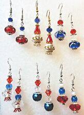 Patriotic Crystal Beaded Long Earrings Dangle Hook Handcrafted Jewelry
