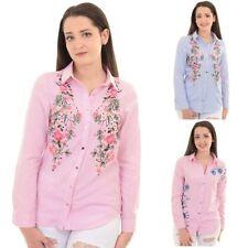 manga larga mujer grande flores bordadas a rayas con botones Camisa Blusa