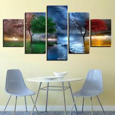 Four Season Trees Abstract Painting 5 Panel Canvas Print Wall Art Home Decor