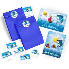 Einladungskarten Kindergeburtstag Schwimmbad Umschläge Partytüten Delfin  Kinder