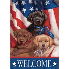 Patriotic Puppies Decorative Flag