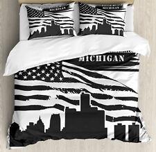 Detroit Duvet Cover Set with Pillow Shams USA Flag Grunge City Print