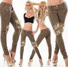 Sexy Damen Hüft Hose Jeans Röhre Leopard Nieten Pailletten Gold 32 34 36 38 40