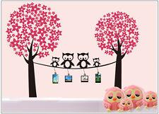 Wandtattoo wandaufkleber wandsticker kinderzimmer Baum Eulen Blumen wbm39