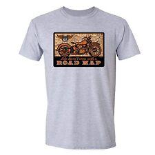 Life Road Map Tshirt Route 66 Motorcycle Garage USA Ameircan Biker T-Shirt Gray
