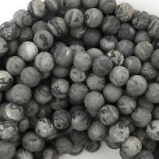 "Matte Gray Leopard Skin Jasper Round Beads 15"" Strand 4mm 5mm 6mm 8mm 10mm 12mm"