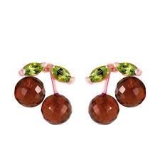 14K Solid Rose Gold Women's Beautiful Fashion Earrings with Garnets & Peridots