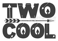 TWO COOL - IRON ON TRANSFER - 2ND BIRTHDAY BOHO - GREY T-SHIRT TRANSFER