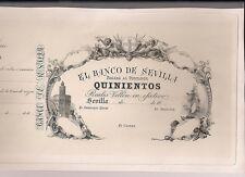 F.C. BILLETE DE BANCO DE SEVILLA, PRUEBA CALCOGRAFICA EN CARTUL.