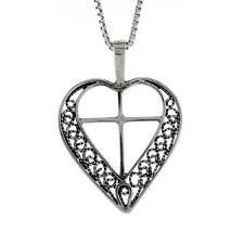 "Sterling Silver Filigree Heart with Cross Pendant / Charm, 18"" Italian Box Chain"