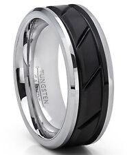 Tungsten Carbide Men's Black Diagonal Grooved Wedding Band Ring