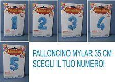 PALLONCINO MYLAR AZZURRO STELLINE 35 CM SCEGLI IL TUO NUMERO FESTA COMPLEANNO