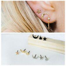 Minimalist Lovely Moon Star Heart Punk Tiny Earrings Set Party Ear Stud Jewelry
