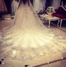 Lace Rhinestones Wedding Veils Crystal Cathedral Bridal Veil White Ivory Comb