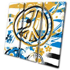 Peace Floral Hippy Abstract TREBLE DOEK WALL ART foto afdrukken