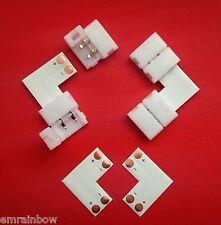 LED SMD Strip L Form einfarbig 2 Pol +- Eck Steck Verbinder 90° Adapter Kit 10mm