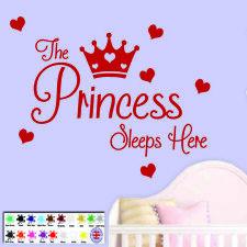 Princess Sleeps - Wall Stickers - Wallart Vinyl Decal Baby Girls Room