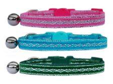 Velluto Rosa Verde Turchese Argento Diamante Gattino di sicurezza Collare per gatti Bell
