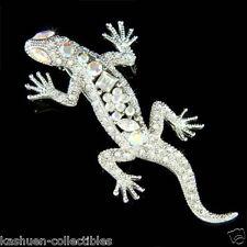 Big w Swarovski Crystal ~Iguana Lizard REPTILE Gecko Salamander Newt Brooch Xmas