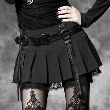 Mini jupe plissée dentelle gothique lolita écolière sangles ceinture Punkrave N