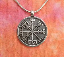Vegvisir Medallion Necklace, Iceland Icelandic Runic Rune Viking Compass Pendant
