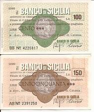 1977 BANCO DI SICILIA CATANIA COPPIA MINI ASSEGNI L. 100 + L. 150 ASS.NE COMM.TI