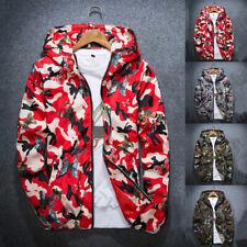 Fashion Man Butterfly Camouflage Printed Jacket Zipper Hooded Coat Top Windbreak