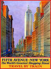 Vintage TRAVEL Poster.NEW YORK.5th Avenue.Art Decor.Interior shop design.43