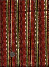 """Panzy Pazazz"" Stripe Print/gold rose brown tan green Fabric - P & B Textiles"