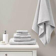 Luxury 6pc Solid Grey Spa Waffle Cotton Jacquard Towel Set
