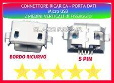 CONNETTORI RICARICA Micro USB 5 PIN - 2 FISSAGGI Verticali per TABLET SMARTPHONE