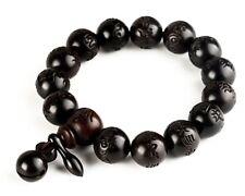 Peach Wood Beads Bracelet Buddha Tibetan Prayer Hand Carved Gift