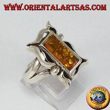 Anello d'argento con Ambra rettangolare in cornice