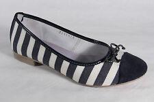 Damen Ballerina Mocasines Zapatos zapatos de tacón azul/blanco NUEVO