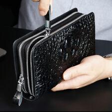 Business Clutch Bag Leather Crocodile Mens Double Zipper Long Wallet Card Holder