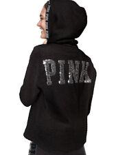 Victoria's Secret PINK Bling Sherpa Quarter Zip Hoodie Pullover Black Sequin L